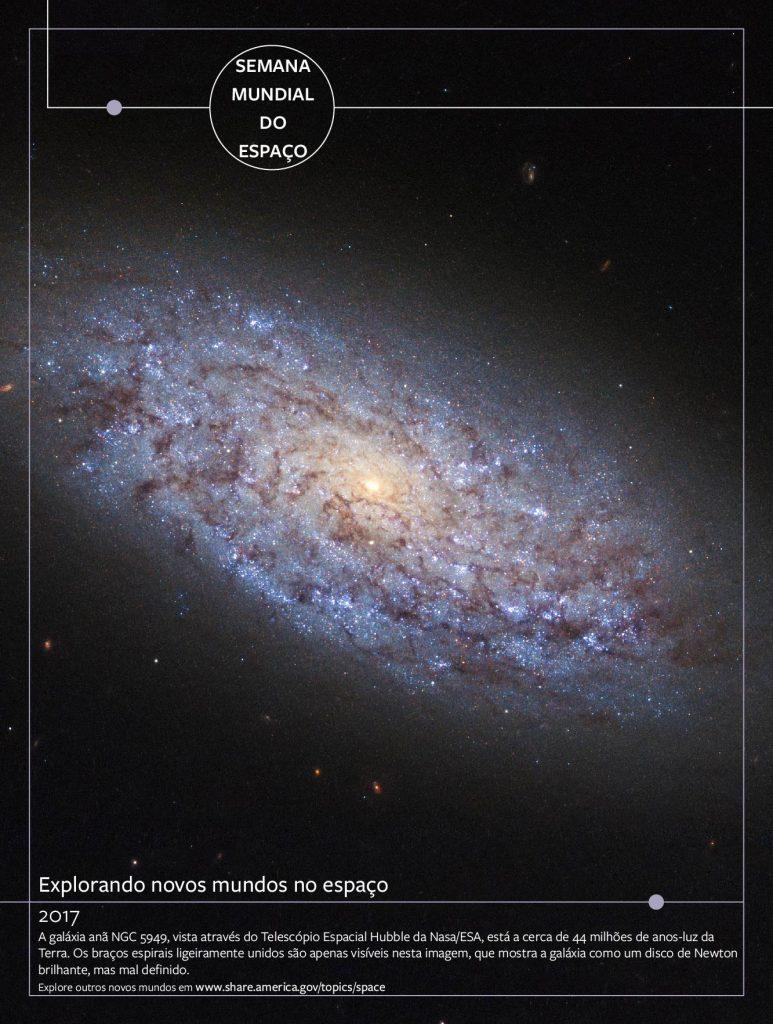 Cartaz mostra galáxia no espaço e texto sobreposto (Depto. de Estado/S. Gemeny Wilskinson)