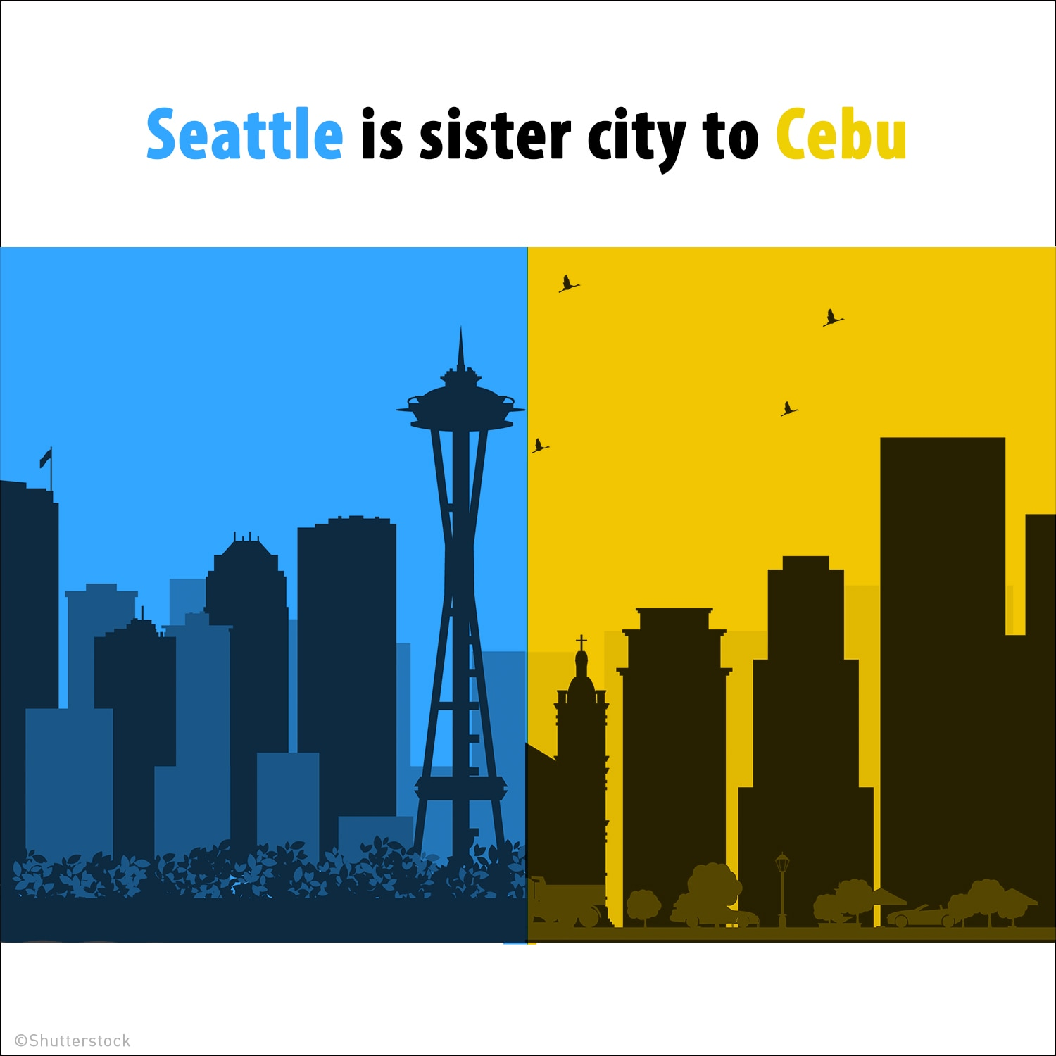 Silhouettes of Seattle and Cebu skylines (Shutterstock)