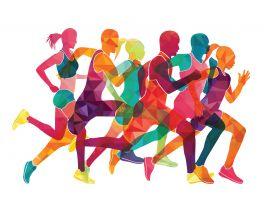 چھ دوڑنے والے افراد کا تصویری خاکہ۔ (Shutterstock)