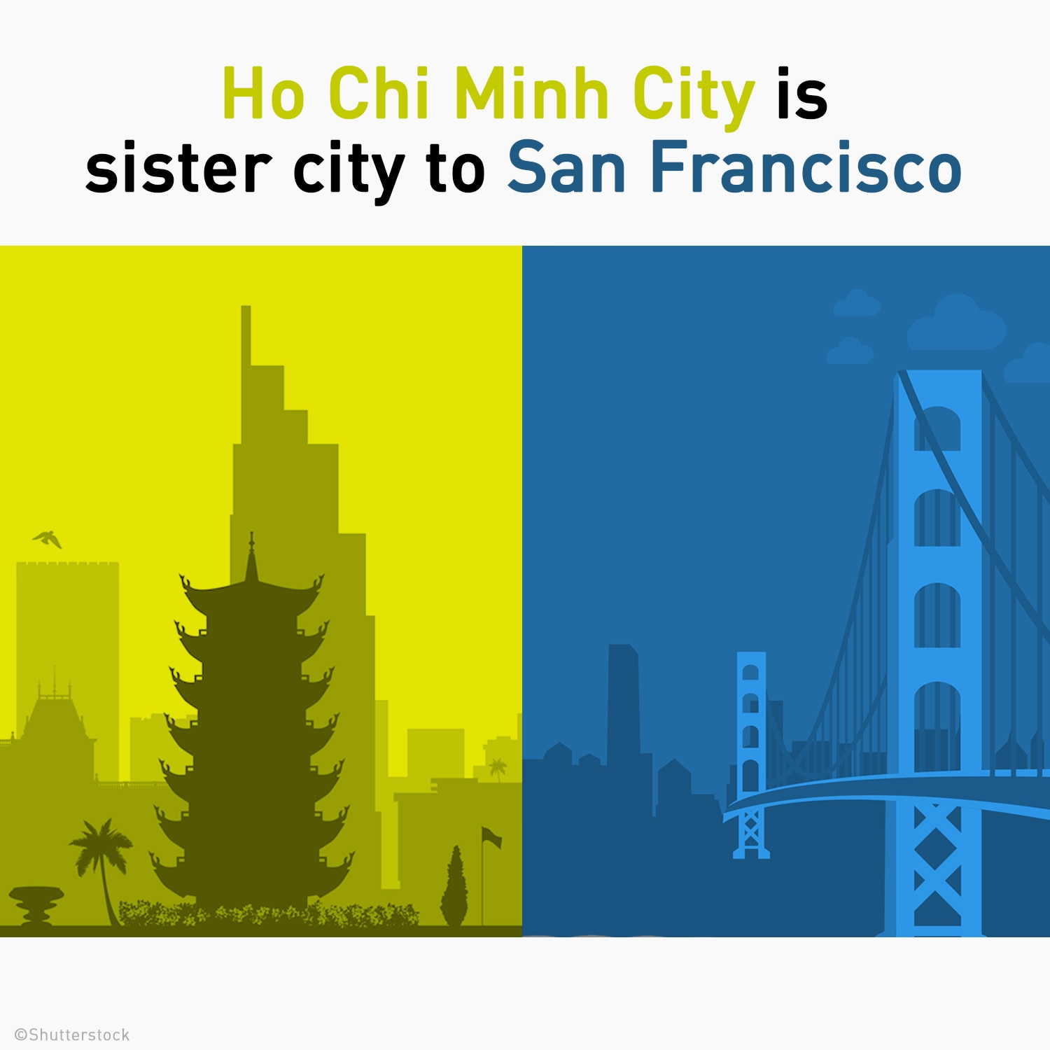 Silhouettes of Ho Chi Minh CIty and San Francisco skylines