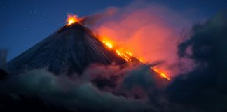 Erupting volcano at night (© Vladimir Voychuk/2017 National Geographic Nature Photographer of the Year)