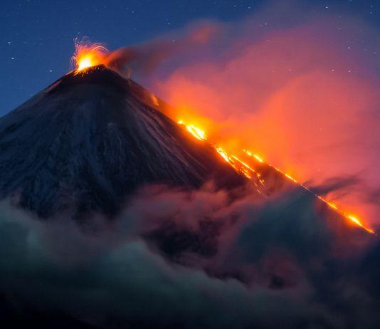 Erupting volcano at night (© Vladimir Voychuk/2017 National Geographic Nature Photographer of the Year)