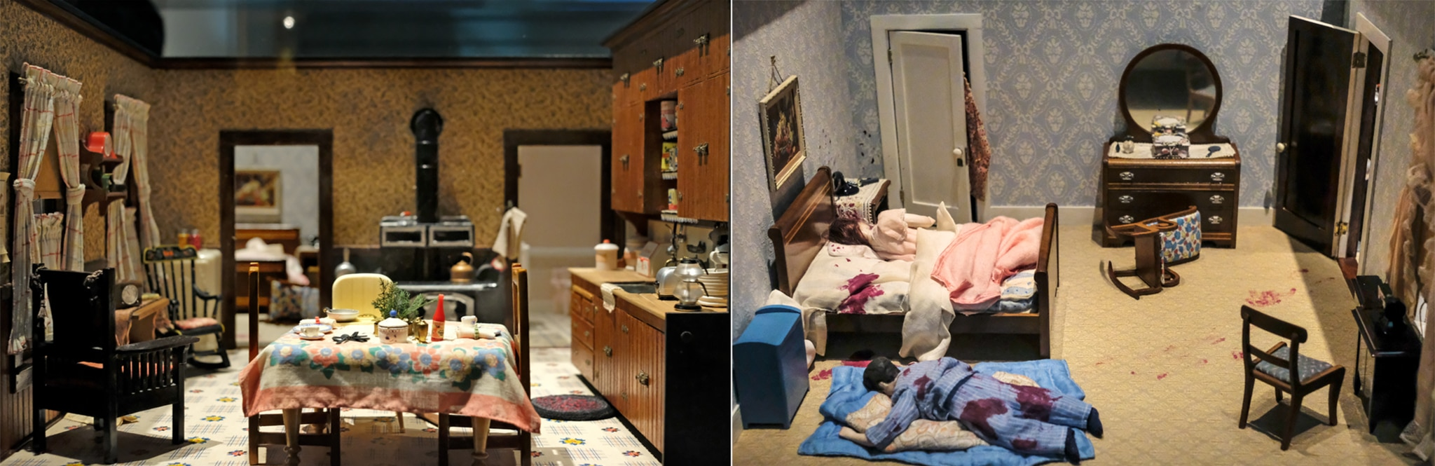 Miniature kitchen on left and bedroom scene on right with two dolls representing dead bodies (State Dept./S.L. Brukbacher)
