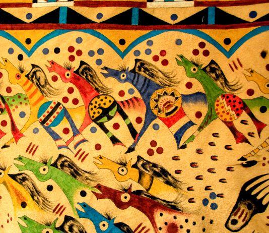 Pintura em cores brilhantes que ilustra pessoas andando a cavalo (© Danita Delimont/Alamy)