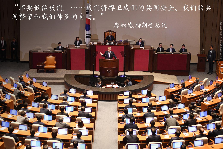 President 特朗普总统在首尔的韩国国会发表讲话。 (© AP Images)