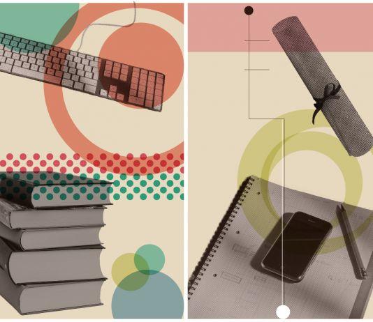 Dibujos de libros, un diploma y un birrete de graduación (Shutterstock/Depto. de Estado/S. Gemeny Wilkinson)