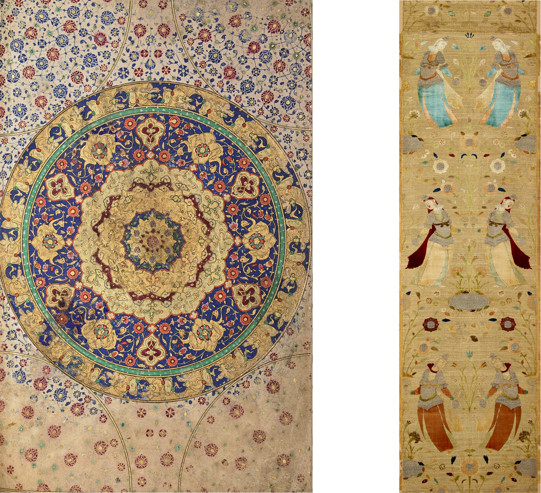 At left, circular multicolored patterns; at right, pairs of figures against floral background (The Keir Collection of Islamic Art/Dallas Museum of Art)