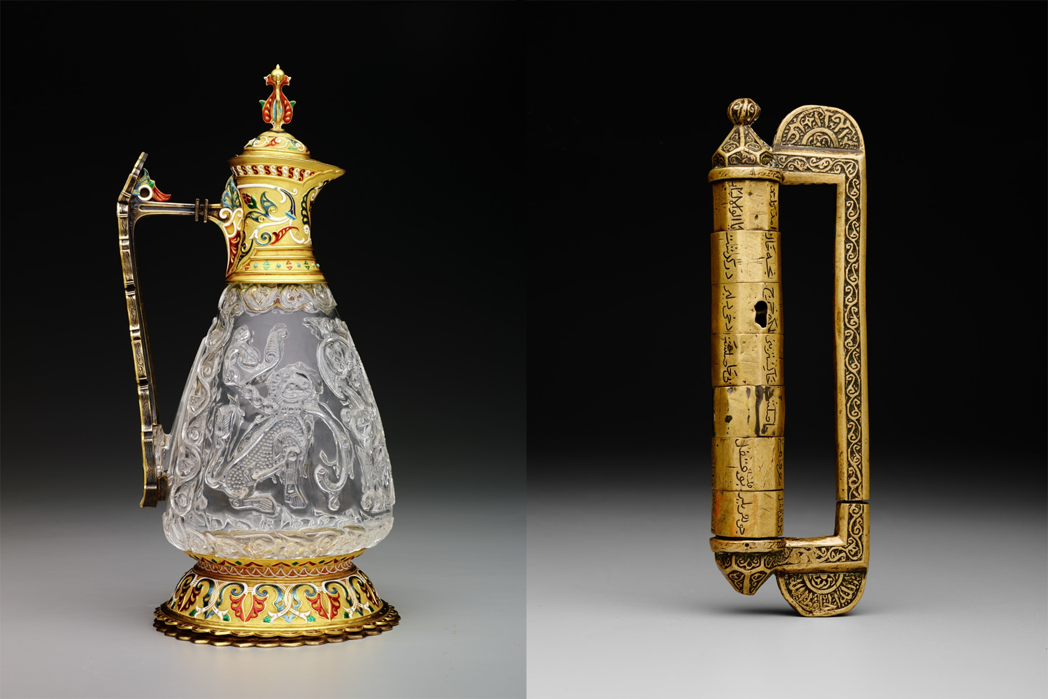 Carved crystal pitcher on left and inscribed, multisectional cylinder with handle on right (The Keir Collection of Islamic Art/Dallas Museum of Art)