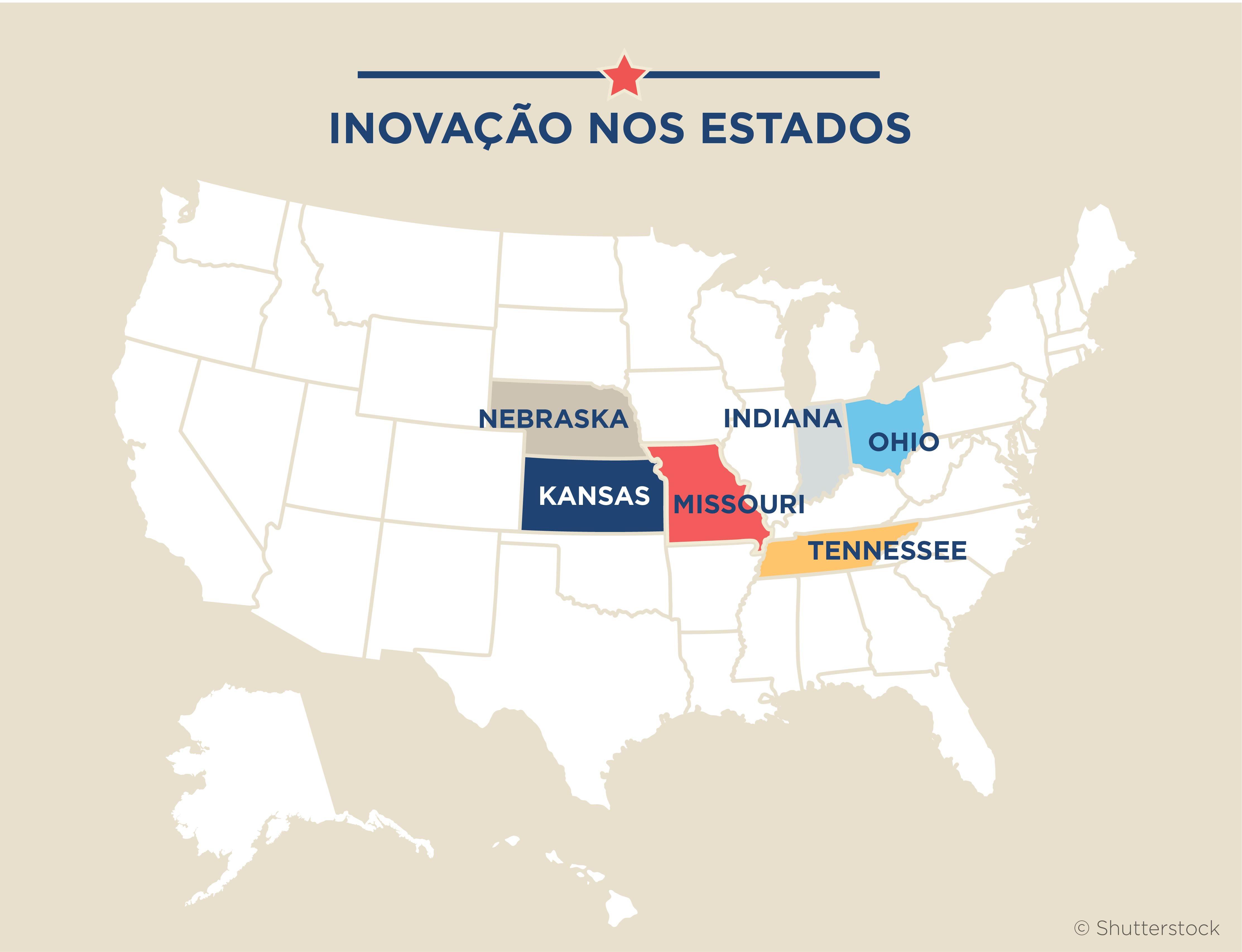 Mapa dos EUA com seis estados em destaque (Maruszewski/Depto. de Estado)