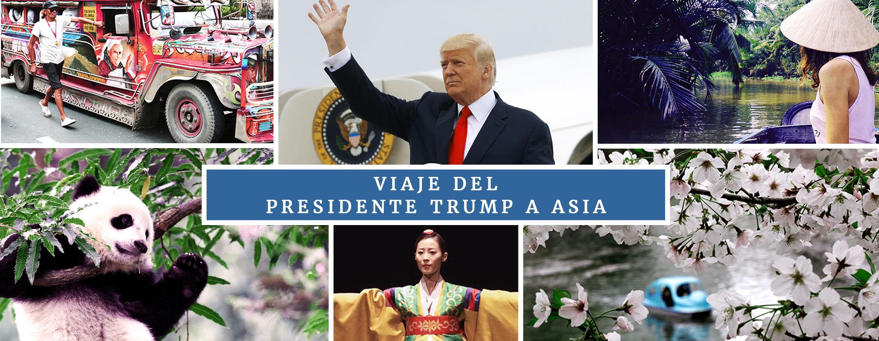 Composición de fotografías con un autobús pintado, el presidente Trump, una mujer junto a un río, un panda, una bailarina ataviada y los árboles de cerezo en flor (© AP Images, Centro Cultural Coreano, Washington, D.C.)