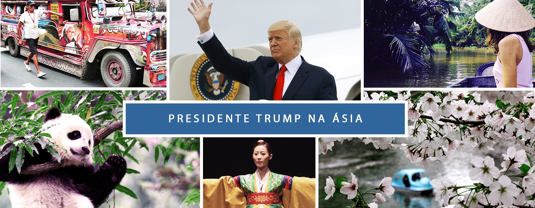 Montagem de fotos de ônibus pintado, presidente Trump, mulher em um rio, panda, dançarina com traje típico e cerejeiras em flor (© AP Images, Centro Cultural Coreano, Washington, DC)