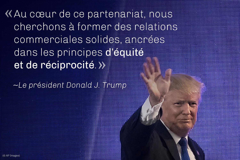 Le président Trump en train de faire un geste de la main, et une citation superposée: «Au cœur de ce partenariat, nous cherchons à former des relations commerciales solides, ancrées dans les principes d'équité et de réciprocité.» (© AP Images)