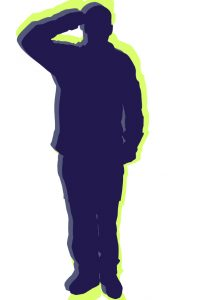 Silhouetted illustration of saluting member of the military