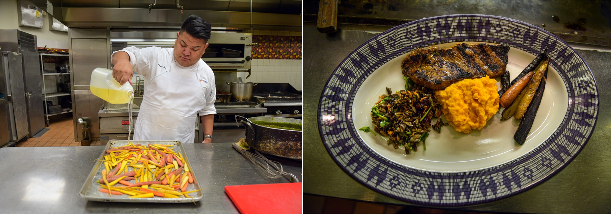 On left, Freddie Bitsoie pouring oil over food to prep it; on right, a plate of prepared food (© Carol Guzy)