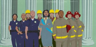 Illustration of elected official standing with local government service providers (State Dept./D. Thompson)