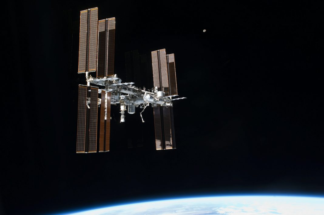 Space station in space above Earth (NASA)