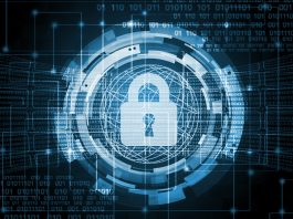 Graphic design showing a lock and an illustration representing cybertechnology (Shutterstock)