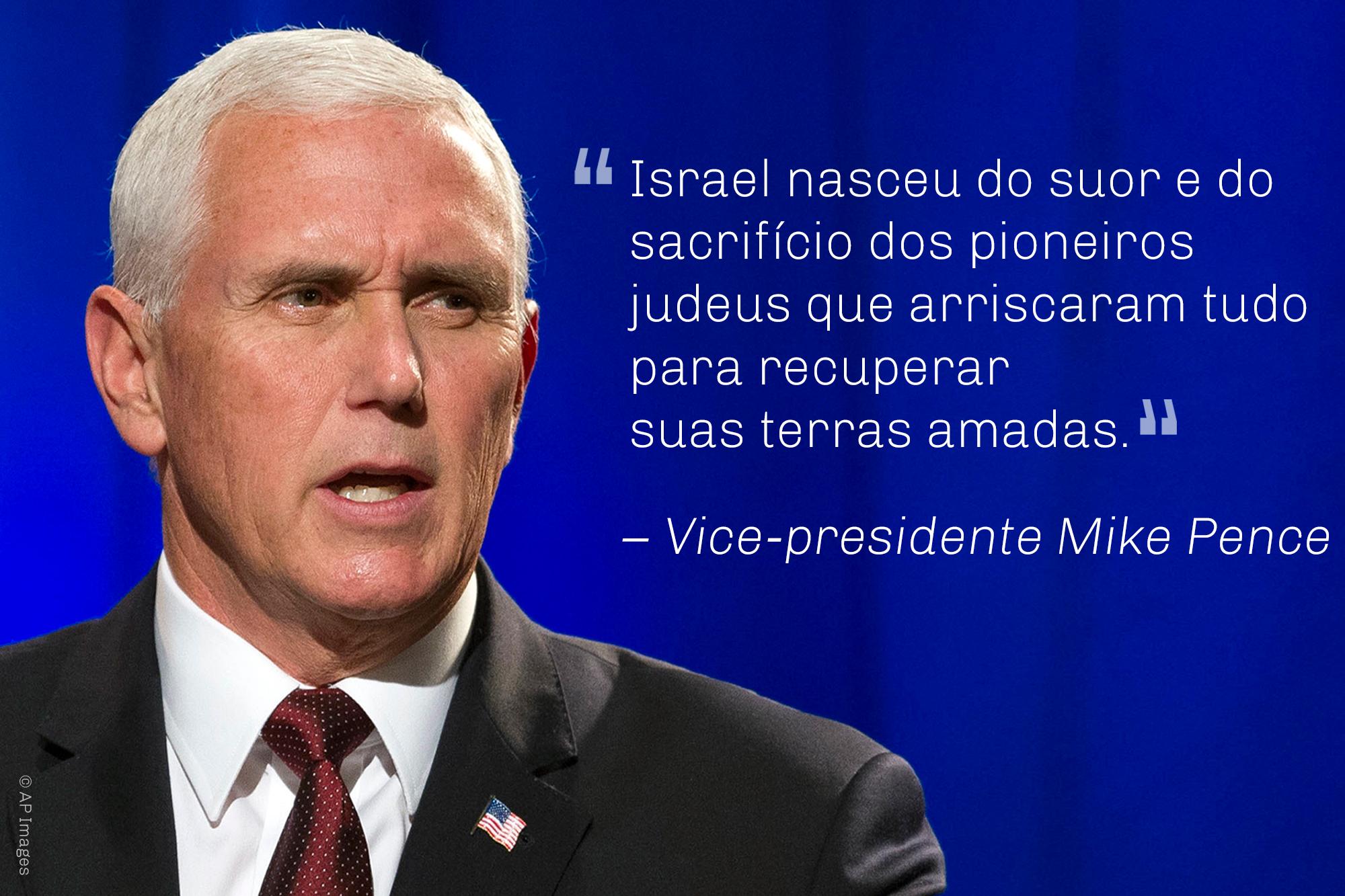 T Foto e citação do vice-presidente Pence sobre o sacrifício feito por pioneiros judeus (© AP Images)