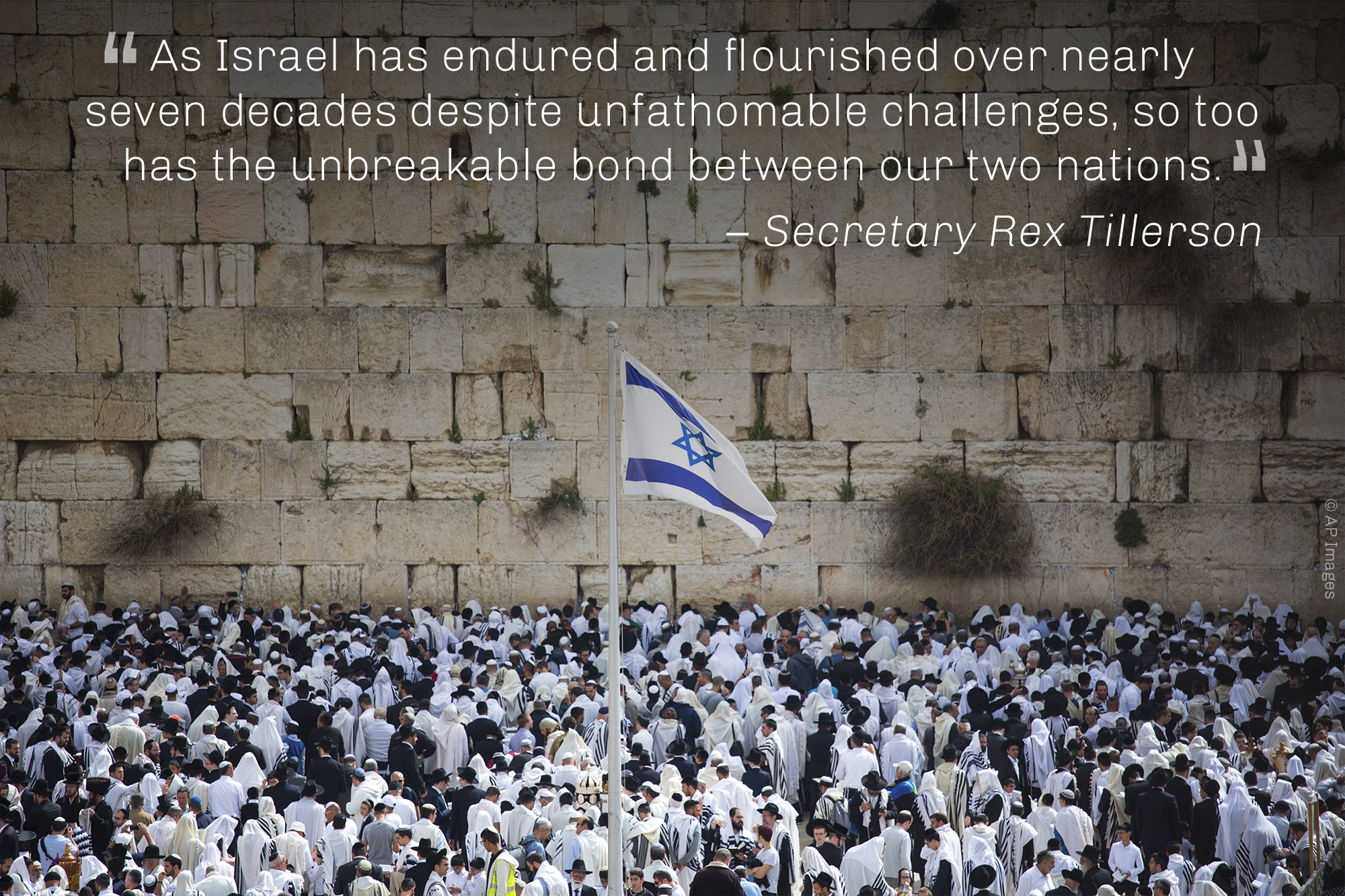 Quote from Secretary Tillerson on U.S.-Israeli bond, overlaid on photo of large crowd before wall (© AP Images)
