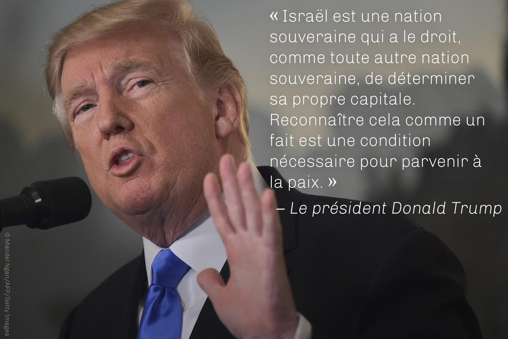 Citation du président Trump sur le fait qu'Israël est une nation souveraine, sur une photo de Trump (© Mandel Ngan/AFP/Getty Images)