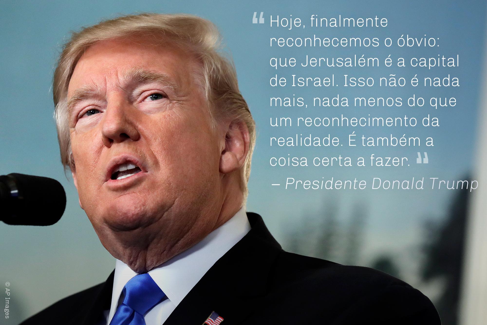 Foto e citação do presidente Trump considerando Jerusalém a capital de Israel (© AP Images)