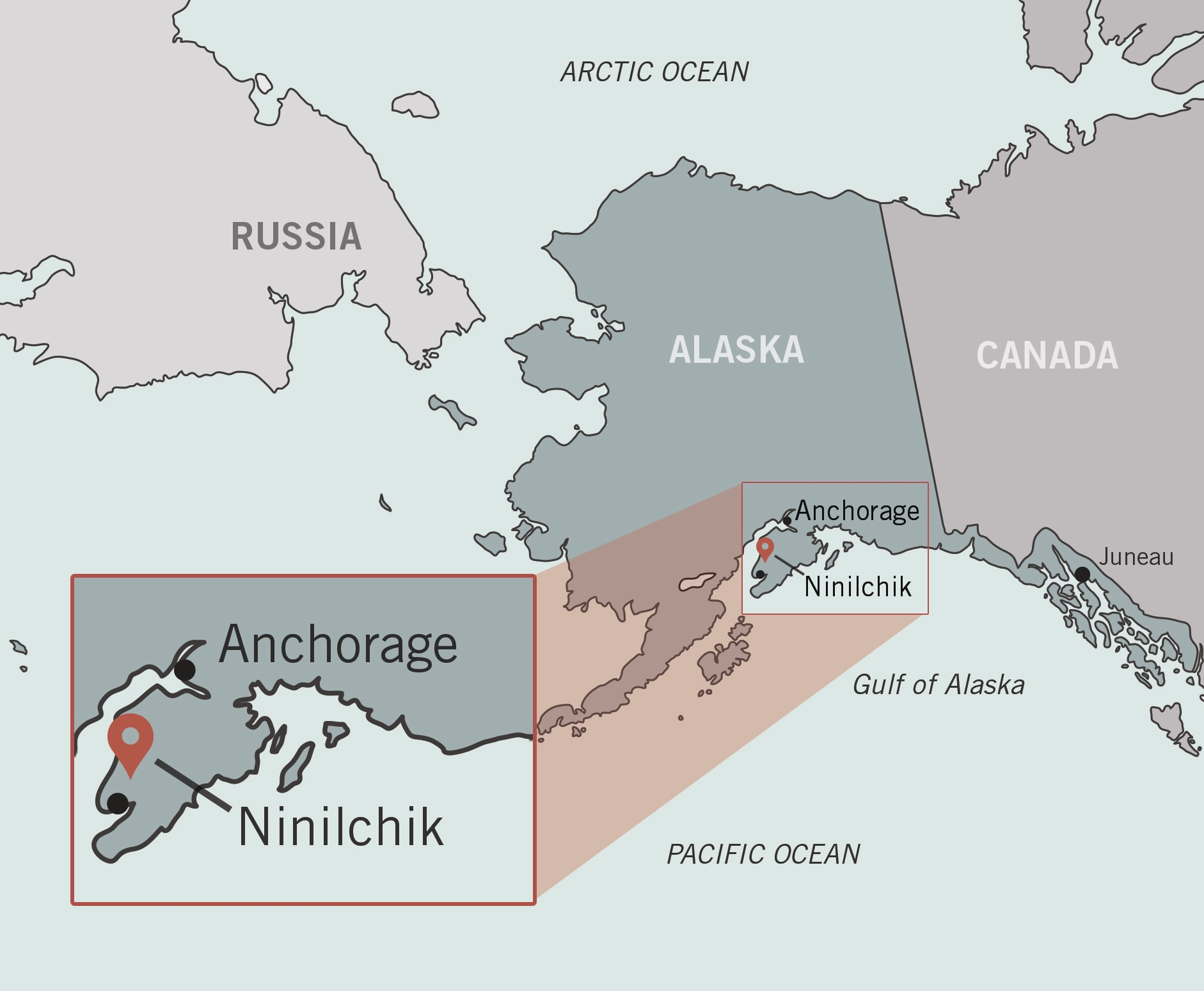 Map of Alaska with inset highlighting location of Ninilchik (State Dept./O. Mertz)