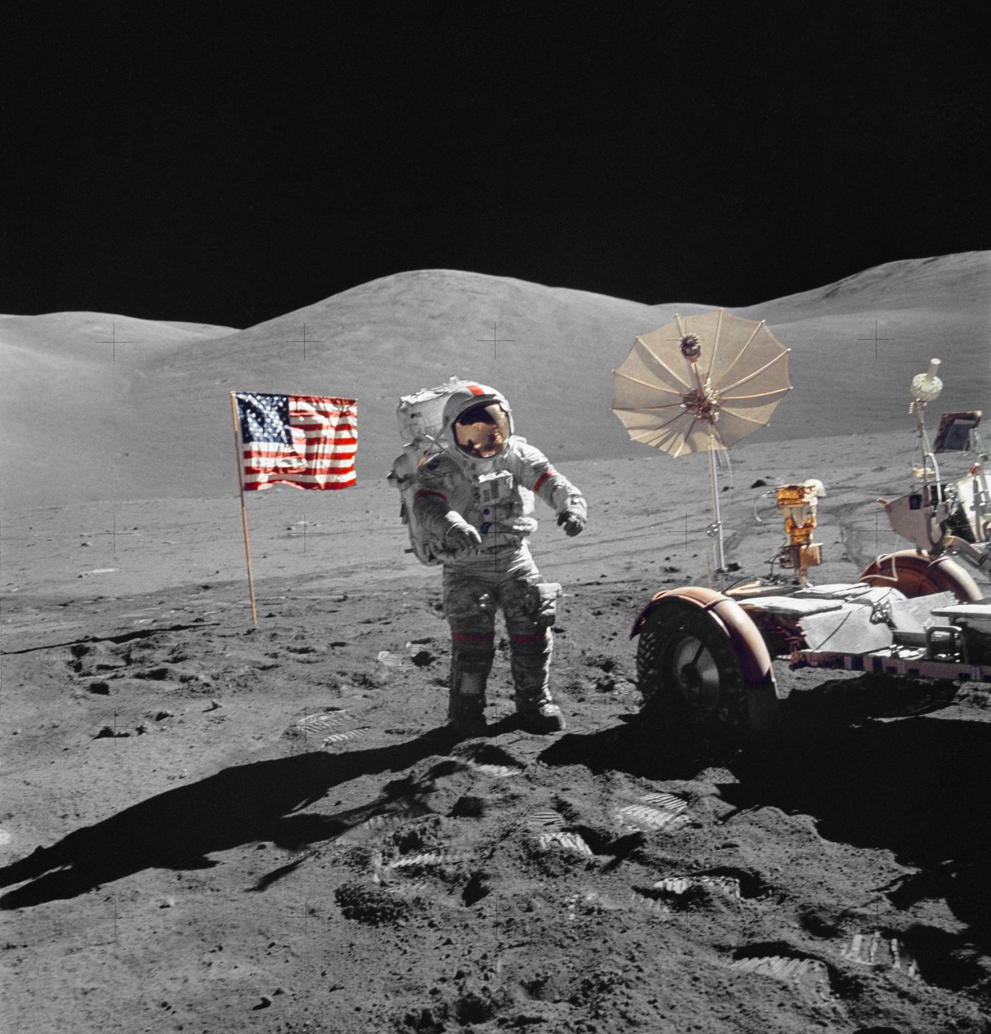 Astronaut and buggy on moon (NASA)