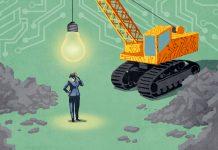 Ilustração de empresária parada abaixo de bola de demolição em forma de lâmpada (Depto. de Estado/D. Thompson)