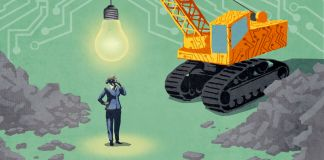 Illustration of businesswoman standing beneath wrecking ball shaped like lightbulb (State Dept./D. Thompson)