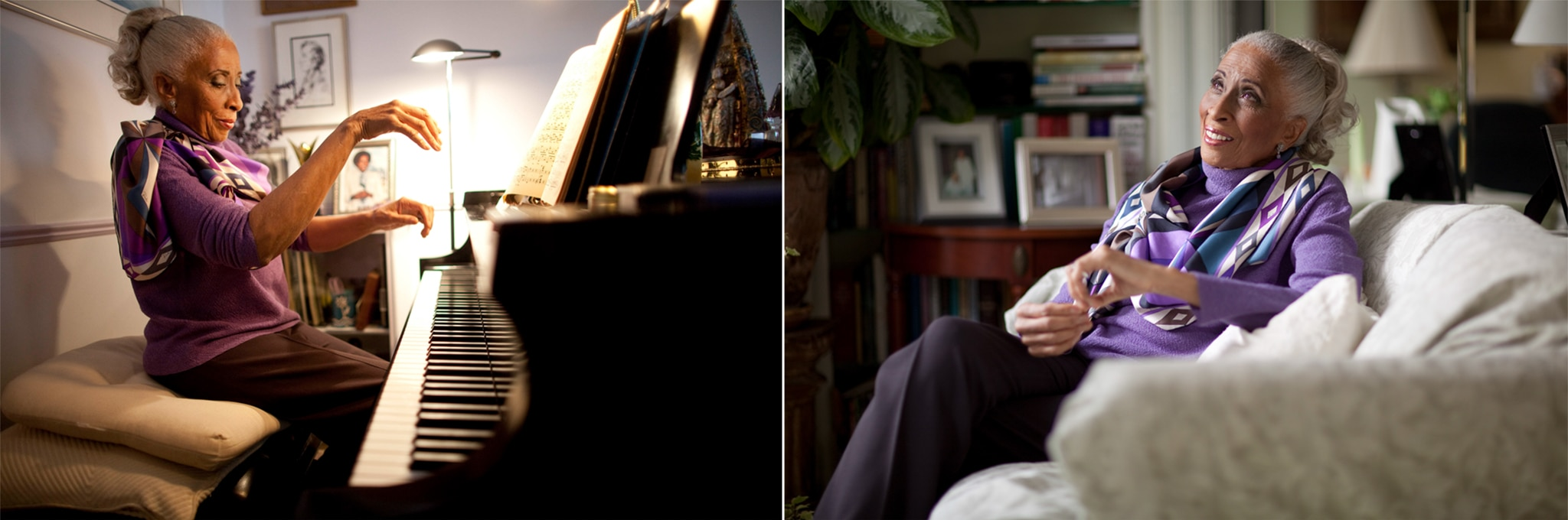 Composite of two photos: Woman playing piano; woman seated on couch (© Robert Caplin/New York Times/Redux)
