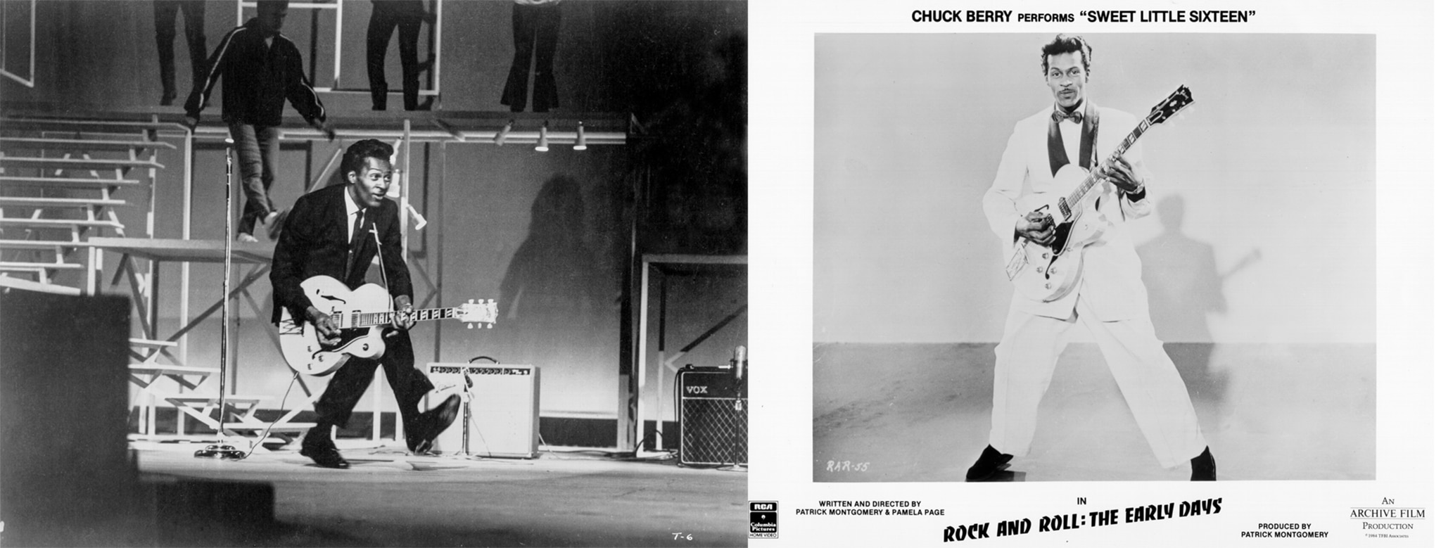 Composite of two photos: Man with guitar on stage; man posed with guitar on record album cover (© Michael Ochs Archives/Getty Images)