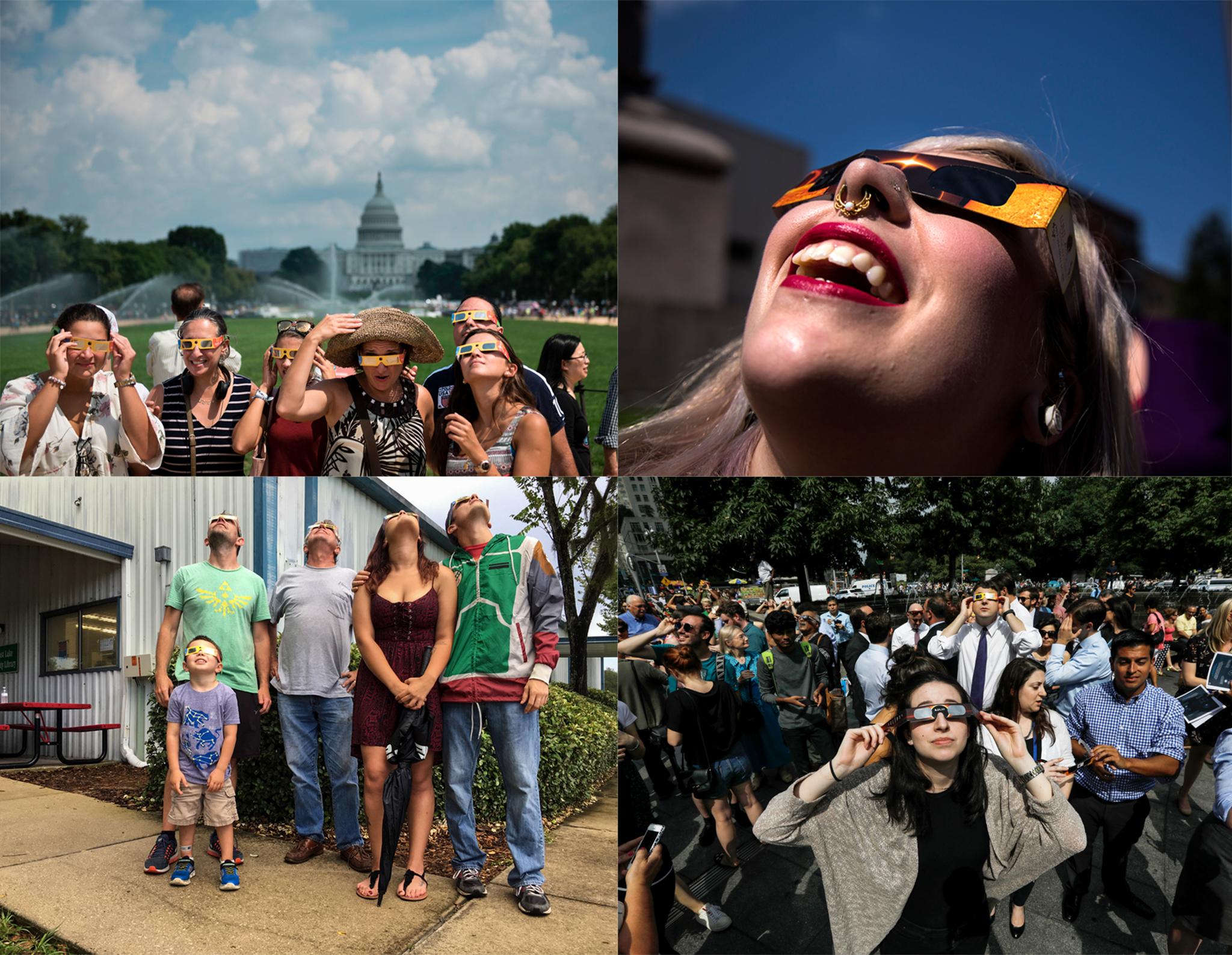 Four photos of people looking up while wearing special eyeglasses (© Brendan Smialowski/Getty; © Derek Davis/Portland Press Herald/Getty; © Peter Foley/Bloomberg/Getty; © Stephen Hudak/Orlando Sentinel/TNS/Getty)