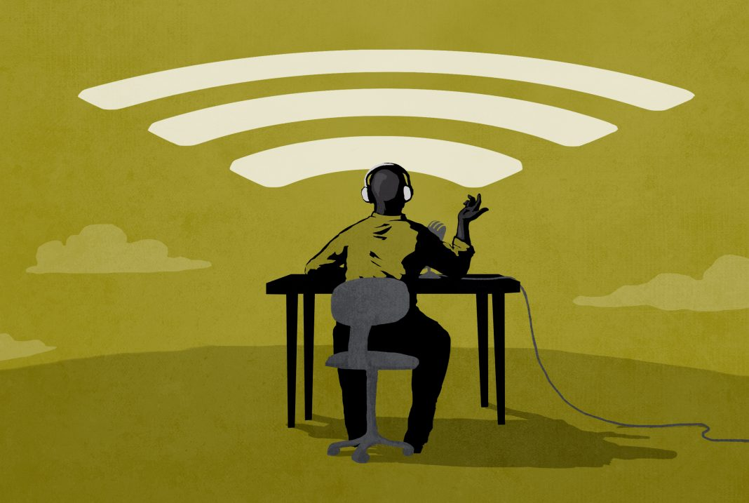 Illustration of seated person wearing headphones, beaming his message (State Dept./Doug Thompson)