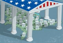 Illustration of a federal government canopy standing over the U.S. statehouses (State Dept./Doug Thompson)