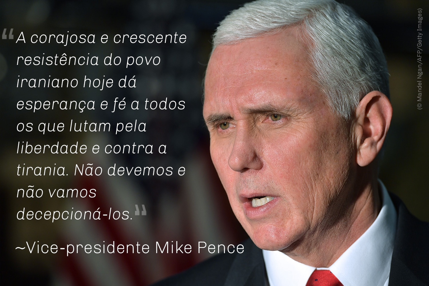 Close do vice-presidente Pence. Citação de Pence (© Mandel Ngan/AFP/Getty Images)