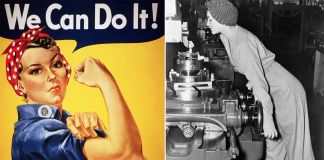 Composite of Rosie the Riveter poster and woman working machine in factory (© Corbis/Getty Images; © Bettmann/Getty Images)