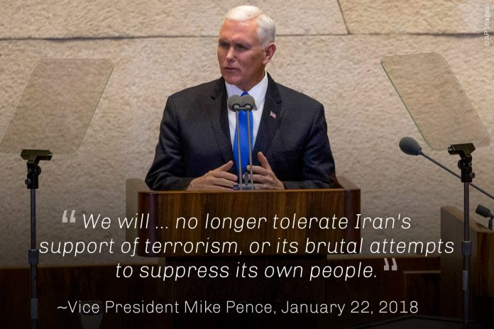 Vice President Pence at lectern (© AP Images)