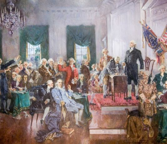 Pintura de los fundadores de Estados Unidos (Arquitecto del Capitolio)