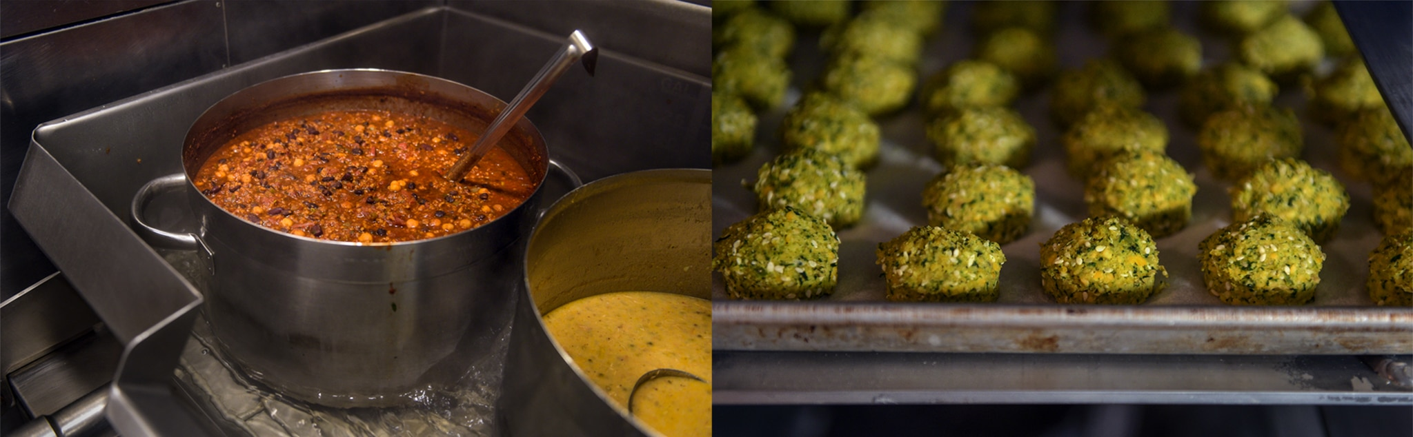 Side-by-side photos of large pot of chili and tray of falafel balls (© Carol Guzy)