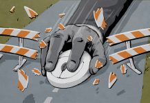 Ilustração de uma mão segurando um mouse de computador que colide com uma barricada (Depto. de Estado/Doug Thompson)
