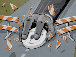 Illustration of a hand holding a computer mouse crashing through a roadblock (State Dept./Doug Thompson)