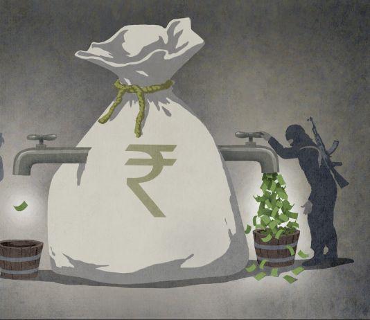 Illustration of terrorist draining large bag of money, leaving none for others (State Dept./Doug Thompson)
