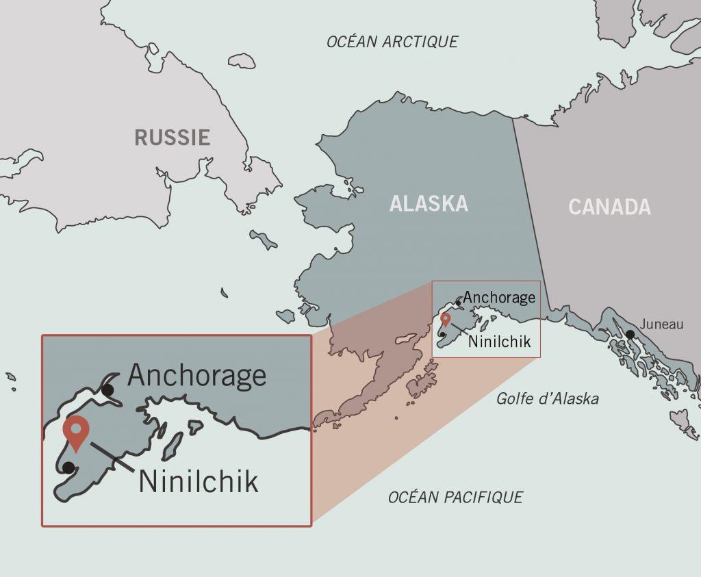 Carte de l'Alaska avec un encart agrandissant l'endroit où se situe Ninilchik (Département d'État/O. Mertz)