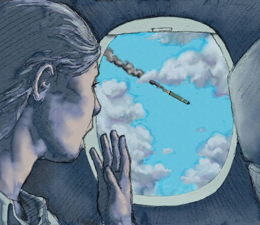 Illustration of a woman on an airplane spotting a missile cruising past her window (State Dept./D. Thompson)