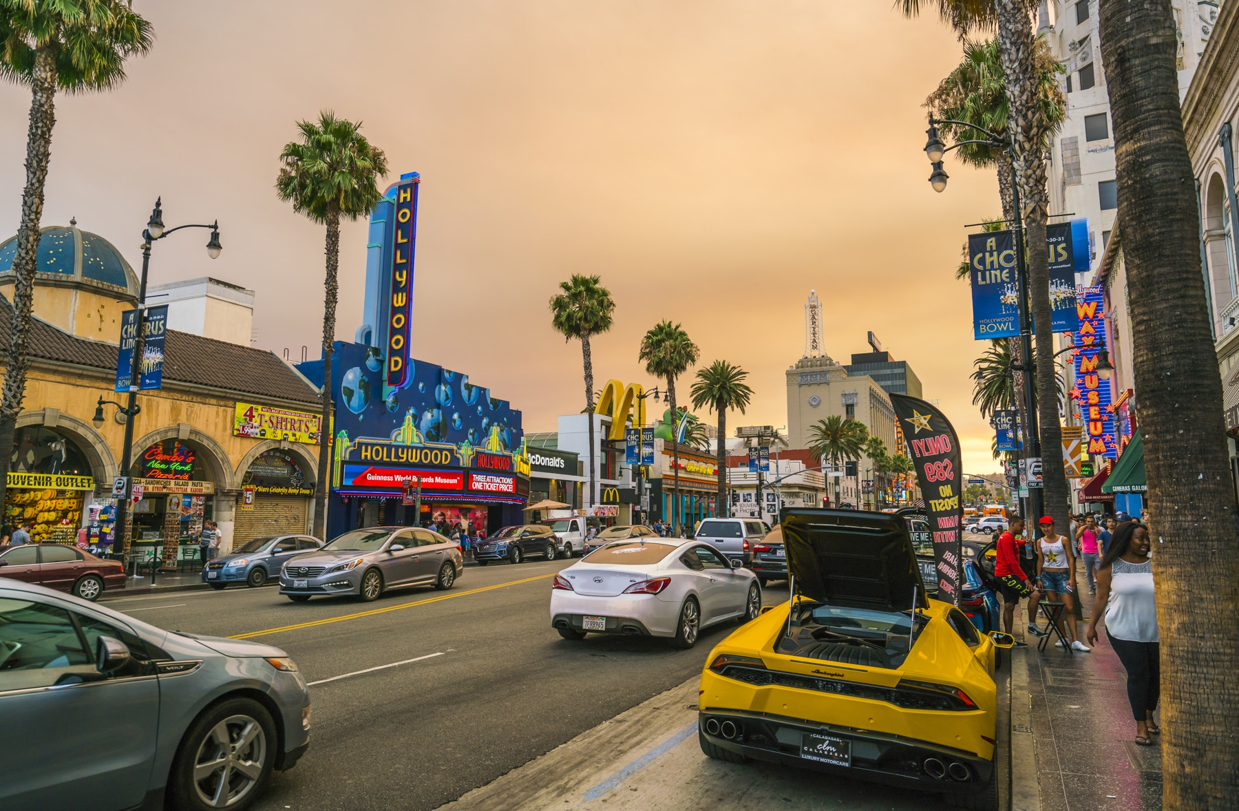 Cars driving down street lined with palm trees and brightly lit stores (Shutterstock)