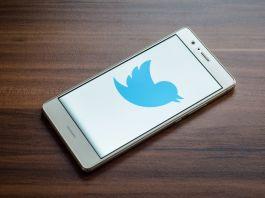 Mobile phone showing blue Twitter logo on screen (© Shutterstock)