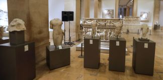 Museum exhibit of ancient sculptures (© Joseph Eie/AFP/Getty Images)
