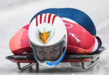 Sled rider going headfirst (© Mark Ralston/AFP/Getty Images)