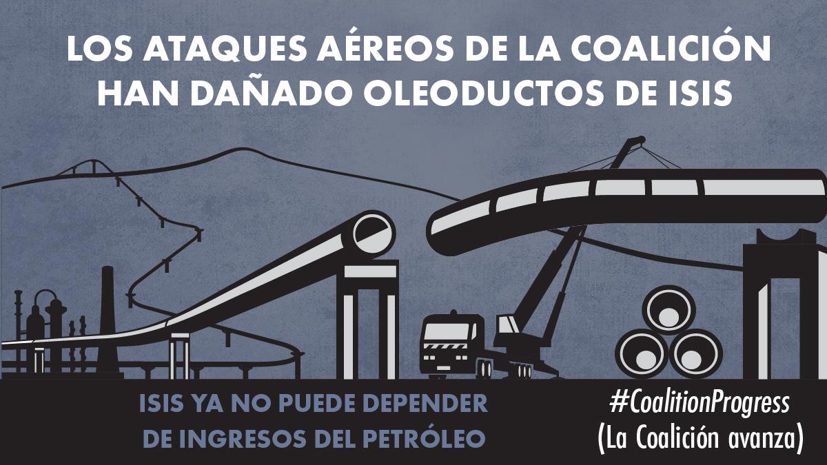 """Ilustración que muestra un oleoducto y un camión grúa con un texto que dice: """" Los ataques aéreos de la Coalición han dañado oleoductos de ISIS. ISIS ya no puede depender de ingresos del petróleo"""" (Depto. de Estado/ L. Rawls)"""