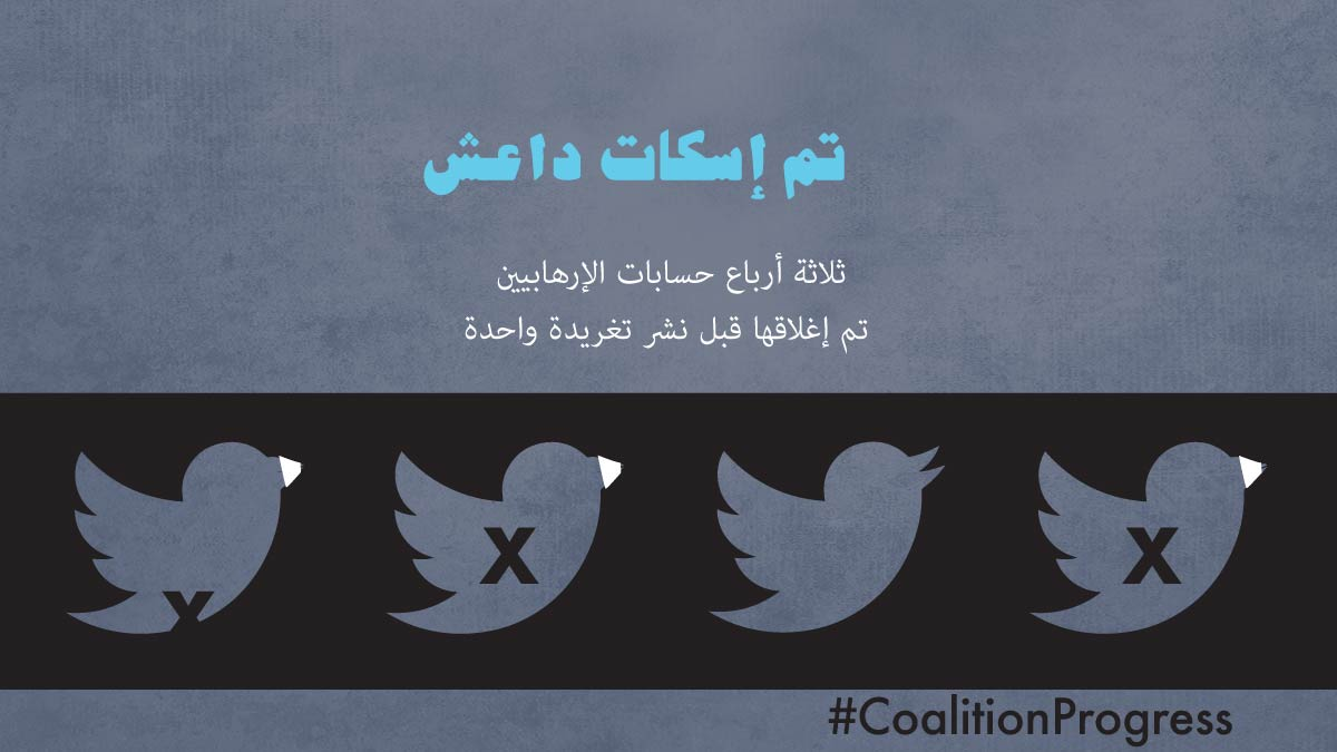Illustration showing 3 birds with x's and one without with text that says isis is being silenced three quarters of terrorists' accounts taken down before posting a single tweet (State Dept./Leigh Rawls)
